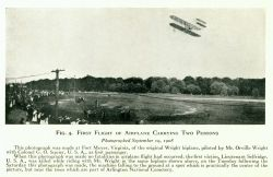 First Flight of Airplane carrying two persons piloted by Mr Orville Wright with Colonel G.O.Squier as first passenger. Photo