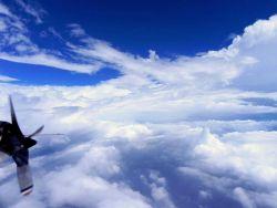 Flying in the eye of Hurricane Edouard. Photo