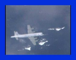 NOAA P-3 N43RF flying in Hurricane Edouard. Photo