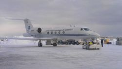 NOAA Gulfstream IV at Anchorage airport between flights of Winter Storms Reconnaissance missions over the North Pacific Ocean. Photo