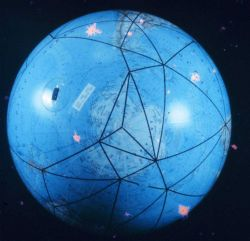 A global model of the satellite triangulation network. Photo