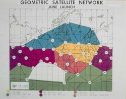 Different colors on map display different phases of satellite triangulation program. Photo