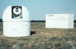 Electronic shelter on right used to house synchronization consol while the dome on the right was the camera dome for housing the BC-4 camera Photo
