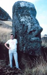Station Number 020 - Bob Kulton next to a Moia, one of the famous Easter Island statues Photo