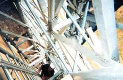 Looking down a 60-foot ladder from the top of the Washington Monument Photo
