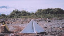Close-up of home-made radar reflector constructed from house insulation covered with aluminum foil Photo