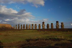 Moai facing inland at Ahu Tongariki, restored by Chilean archaeologist Claudio Cristino in the 1990s. Photo
