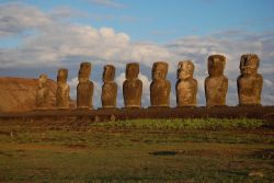 Moai facing inland at Ahu Tongariki, restored by Chilean archaeologist Claudio Cristino in the 1990s Photo