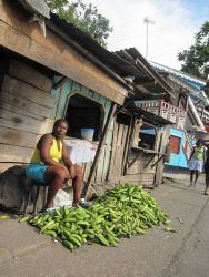 Sao Tomean Women Selling Bananas at Local Market Photo