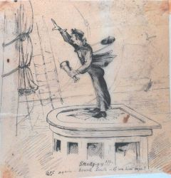 Cartoon depicting officer of the deck on the Coast and Geodetic Survey Steamer BLAKE Photo