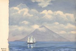 Sailboat on a calm day with a perfectly conical New Zealand volcano in the distance. Photo
