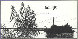 Pen and ink drawing of survey boat working in marsh Photo