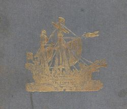Image of Magellan's ship VICTORIA, embossed on cover of