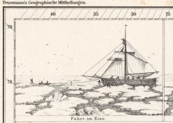 Illustrations in Petermann's Geographische Mittheilungen of German Arctic Expedition of 1868 stuck in the ice. Photo