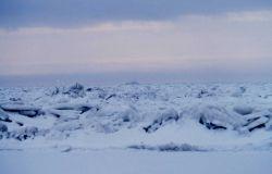 NOAA Ship SURVEYOR seen over the ice fields of the Bering Sea Photo