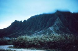 Knife-edged ridge showing effects of erosion with multiple steep stream valleys Photo