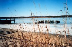 Ice along the shore at the old steamboat landing at Holland Cliffs Shores. Photo