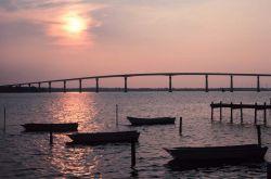 Sunset over the Thomas Johnson Bridge joining Calvert and St Photo