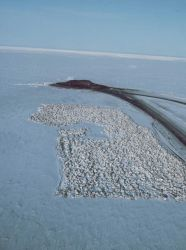 Building an artificial island in the Beaufort Sea. Photo