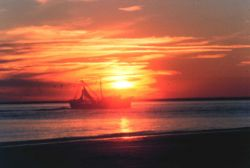 A shrimp boat cruises the waters of Doboy Sound on the south end of Sapelo Island. Photo