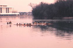 Early morning sculling on the Potomac with the Kennedy Center to left Photo