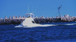 A recreational fishing boat passing the jetties at Manasquan Inlet Photo