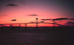 The Newport Bridge at sunset Photo
