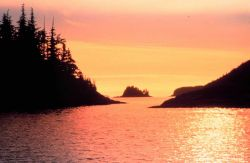 A golden glow suffuses the atmosphere while reflecting off the waters of Prince William Sound at sunset Photo