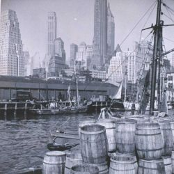 Fish market scene on the New York waterfront Photo
