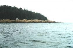 Glacial erratic boulder (white boulder in left center) trapped on eroding granite shoreline. Photo