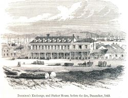 Dennison's Exchange and Parker House before the fire, December 1849 Photo