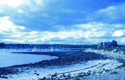 A view of the harbor and beach at Odiorne Point State Park. Photo