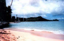 A silhouette of Diamondhead as seen from Waikiki. Photo