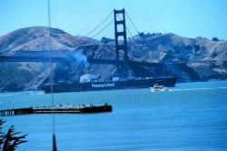The Golden Gate Bridge as seen from atop NOAA's Gulf of the Farallones National Marine Sanctuary Office at the Presidio, San Francisco. Photo