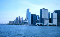 The World Trade Center and part of the New York skyline as seen from the Governor's Island Ferry Photo