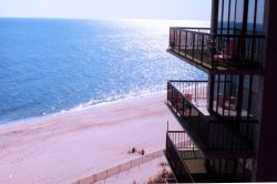 View of a Delaware Beach from an oceanfront condominium Photo