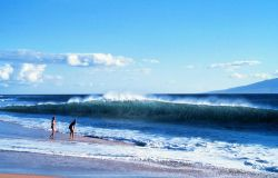 Two vacationers dwarfed by the shorebreak as an offshore wind whips spray off the crest of the wave. Photo