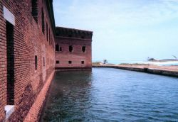 Looking at the outside walls and moat around Fort Jefferson. Photo