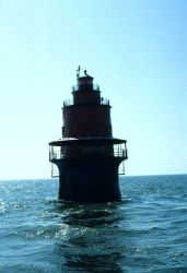 Miah Maull Lighthouse in central Delaware Bay. Photo