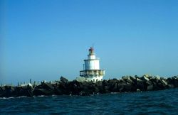 Brandywine Shoal Lighthouse seen at low tide in Delaware Bay. Photo