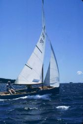 Sailing in Penobscot Bay in Thistle class sailboat. Photo