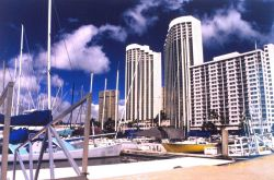 A view at the Ali Wai Yacht Harbor near Waikiki Beach. Photo