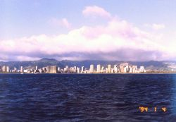 Waikiki hotels as seen from offshore. Photo