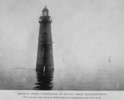 Present Stone Lighthouse on Minots Ledge, Massachusetts Photo