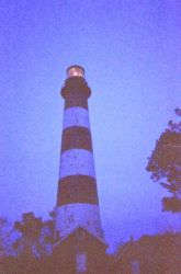 Assateague Light House at dusk, right after the light was turned on. Photo