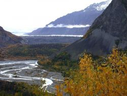 Looking up a glacial valley Photo
