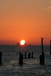 Red sails in the sunset -2. Photo