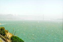The Golden Gate Bridge on a hazy foggy afternoon Photo