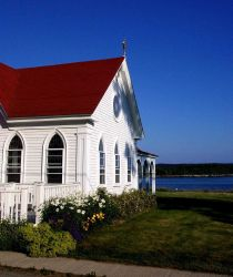 An oceanside church at Castine. Photo