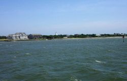 The Ocracoke Lighthouse as seen while approaching Ocracoke on the Cedar Island to Ocracoke ferry boat. Photo